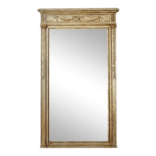 Large Painted Neoclassical Style Mirror with Carved Details