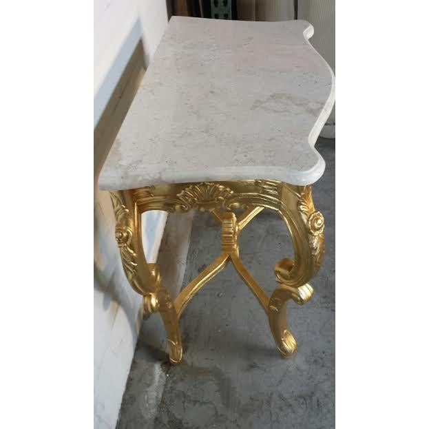 French Rococo XV Marble Top Console Table - Image 5 of 9