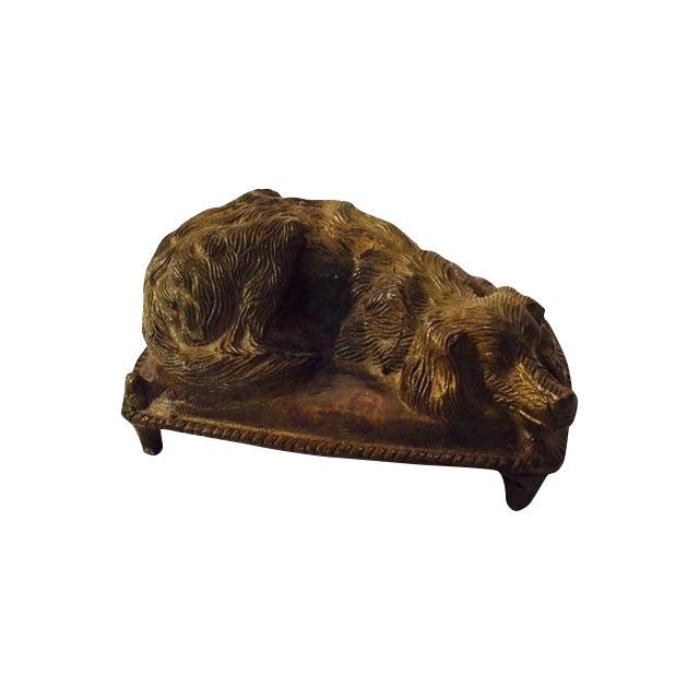 Vintage 1920s Bronze Sleeping Dog Figure - Image 1 of 6