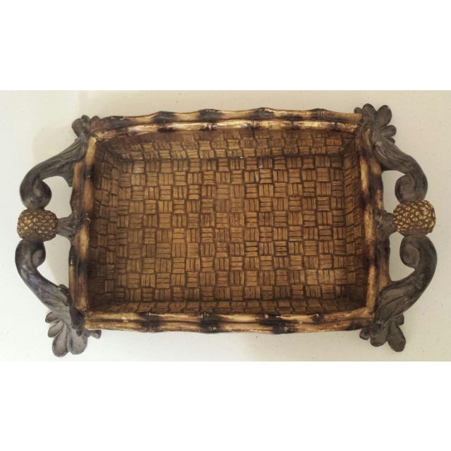 Mid-Century Modern Faux Rattan & Pineapple Basket/Tray - Image 3 of 10