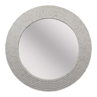 Round Scalloped White Bone Inlay Mirror