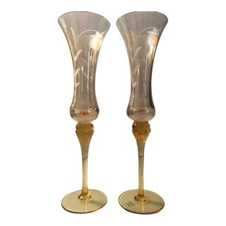 Slovakia Crystal Champagne Flutes - A Pair