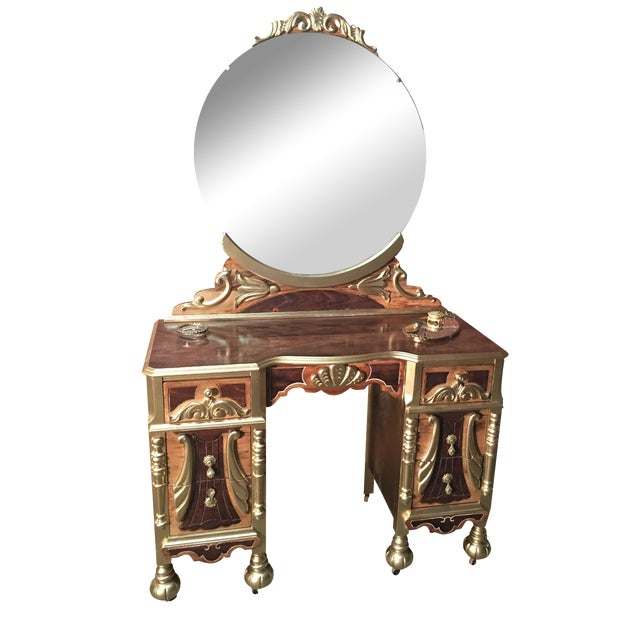 Image of 1920s Art Deco Vanity Table with Seat