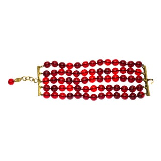 Chanel Vintage Red Beaded Gripoix Bracelet