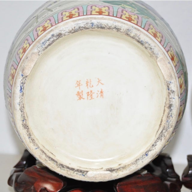 Image of Vintage Porcelain Chinese Temple Jars - A Pair