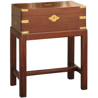 English 19th Century Mahogany Lap Desk Box on Stand with Brass Accents