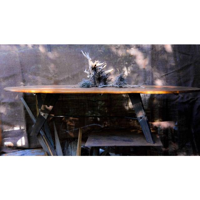Mid-Century Reclaimed Wood Surfboard Coffee Table - Image 7 of 11