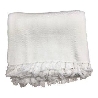 White Cashmere Fringe Blanket