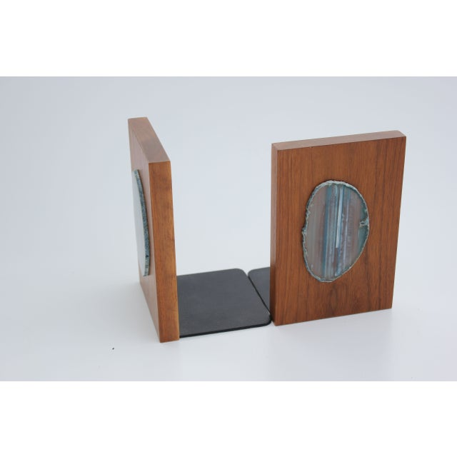 Agate Slice and Wood Bookends - Image 8 of 8