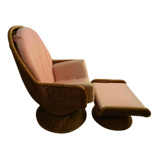 Vintage Mid-Century Modern Wicker Womb Chair & Ottoman