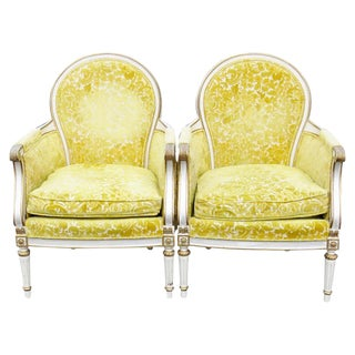 Distressed Cream Painted & Gilt Bergeres Chairs - A Pair