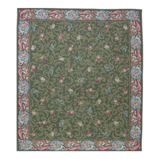 French Aubusson Design Hand Woven Green Floral Wool Rug - 8' X 10'