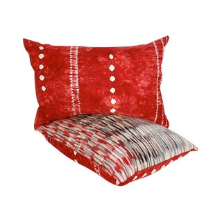 Japanese Shibori Ikat Silk Pillows - A Pair