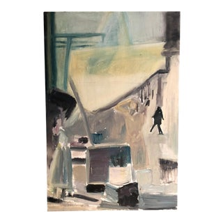 Expressionist Paris Street Scene Acrylic Painting