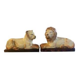 Mid-Century Italian Lion and Lioness Bookends - A Pair