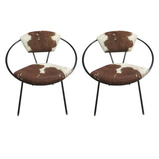 Pair of French Cowhide Lounge Chairs in the Spirit of Jean Royère