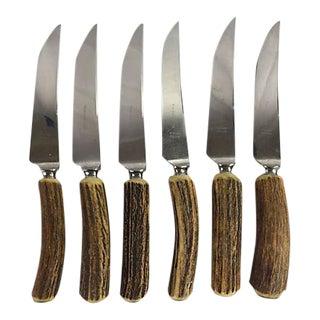 English Antler Handle Steak Knives - Set of 6