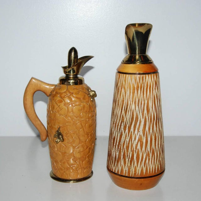 Aldo Tura Wood & Brass Decanters - A Pair - Image 3 of 11
