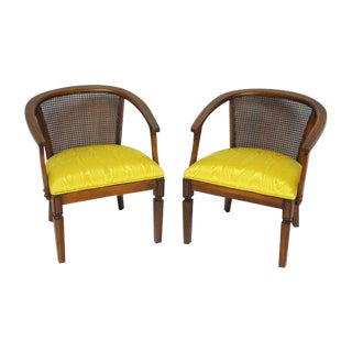 Mid-Century Cane Horseshoe Barrel Chairs - A Pair