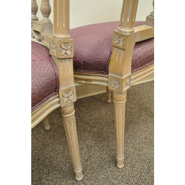 Vintage French Louis XVI Style Drape & Bow Carved Painted Dining Chairs - Set of 4 - Image 5 of 11