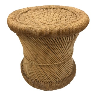 Vintage Wicker & Jute Side Table