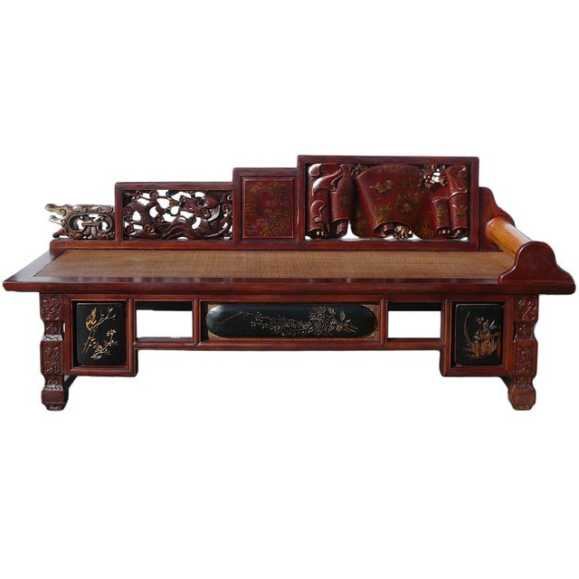 Vintage fujian scenery carved daybed chaise chairish for Carved wooden chaise