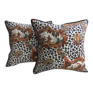 """Brunschwig and Fils """"New Chinese Leopard"""" Pillows - a Pair"""