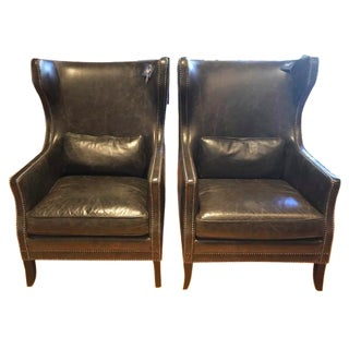 Bernhardt Leather Wingback Chairs - A Pair