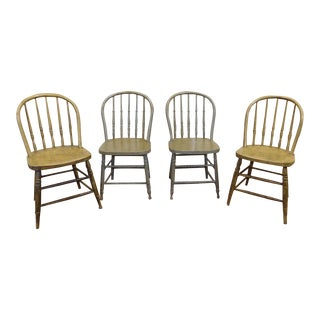 Antique Painted Windsor Hoop Back Spindle Dining Chairs - Set of 4