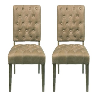 Sarreid Ltd Brady Tan Leather Side Chairs - A Pair