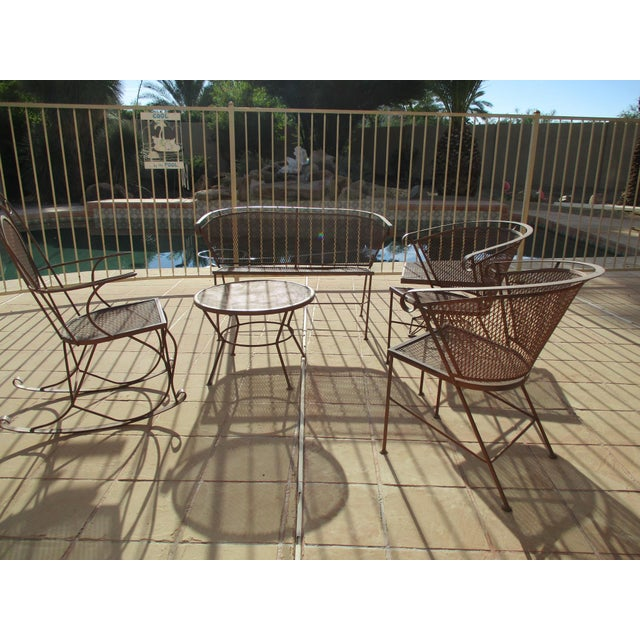 S vintage mid century wire mesh patio square table