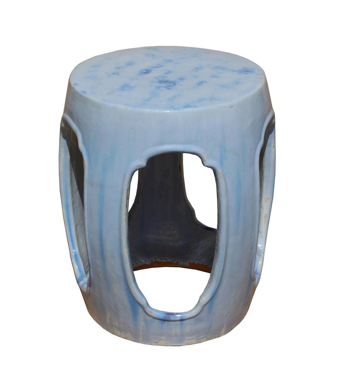 Chinese Round Barrel Light Blue Ceramic Clay Garden Stool
