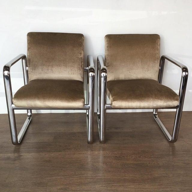Vintage Acardia Chrome & Velvet Chairs - A Pair - Image 2 of 7