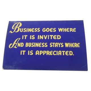 "40s ""Business"" Shop Sign"