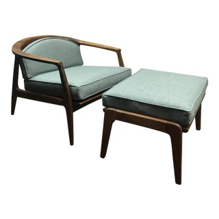 Milo Baughman Walnut Lounge Chair & Ottoman