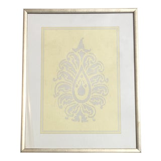 Yellow & Silver Damask Wall Art #2 by Iconic Pineapple