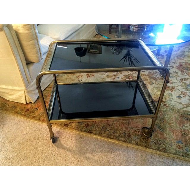 Mid-Century Brass & Black Glass Bar Cart - Image 9 of 11