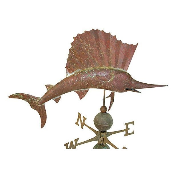 Vintage Copper Sailfish Weathervane with Stand - Image 2 of 7