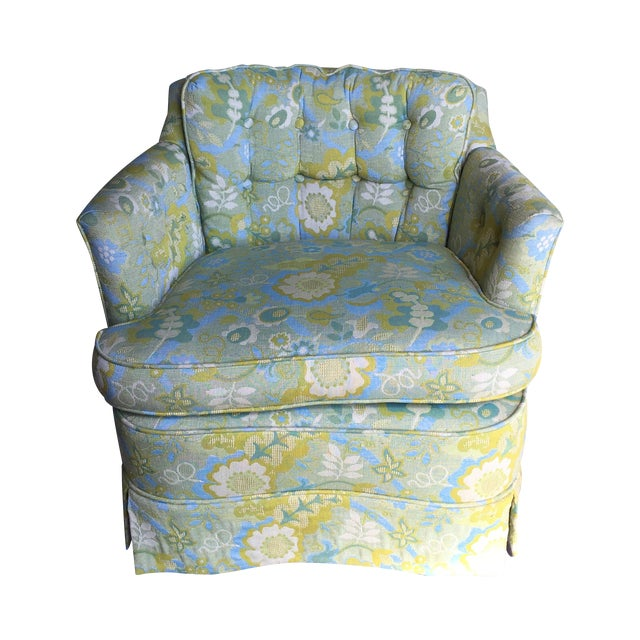 Mid-Century Blue-Green Floral Accent Chair - Image 1 of 8