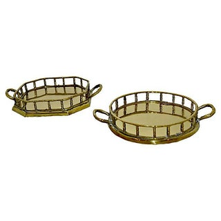 Brass Faux Bamboo Trays - A Pair