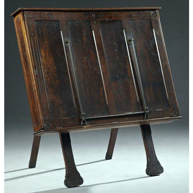 Image of Antique Carved Walnut Folio Cabinet