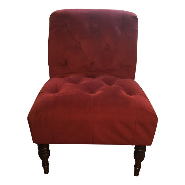 Burgundy Upholstered Chair - Image 1 of 5