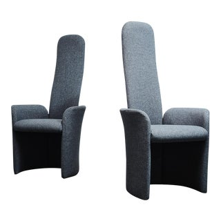 Vintage High Back Modern Throne Style Arm Chairs - Pair