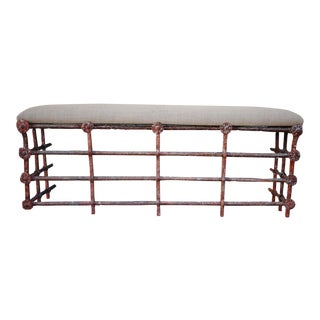 18th Century Spanish Painted Wrought Iron Bench