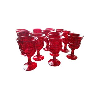 Mid Century Bright Red Water Goblets - Set of 6