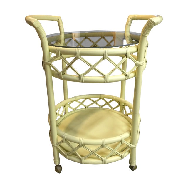 Vintage Cream Rattan Bar Cart - Image 1 of 7