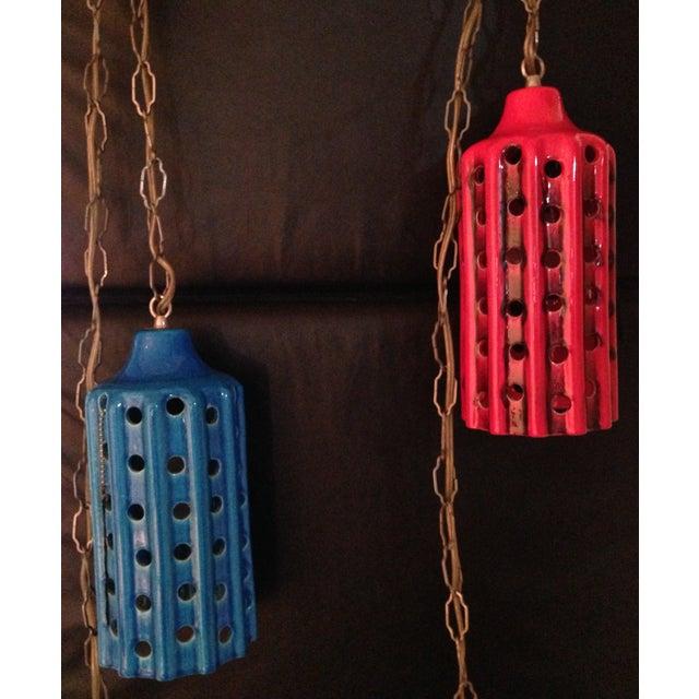 Vintage Pierced Ceramic Pendant Lights - A Pair - Image 2 of 8