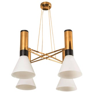 Four-Shade Glass and Brass Chandelier by Stilnovo