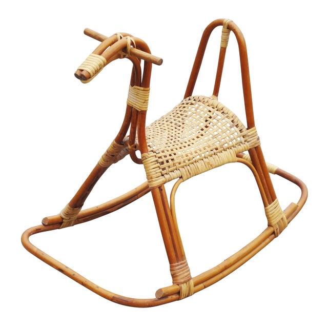 Sculptural Vintage Rattan Rocking Horse - Image 1 of 7