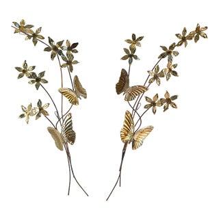A Pair of Mid-Century Modern Leaf Flower Butterfly Metal Wall Art